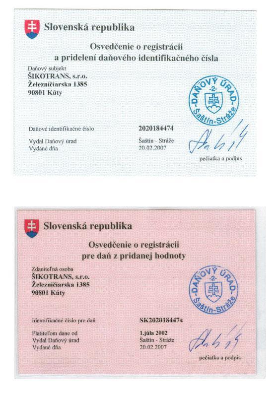 Osvedčenie o registrácii pre DPH a DIČ
