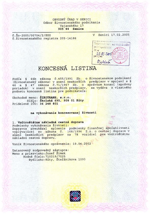 Koncesná listina I. časť