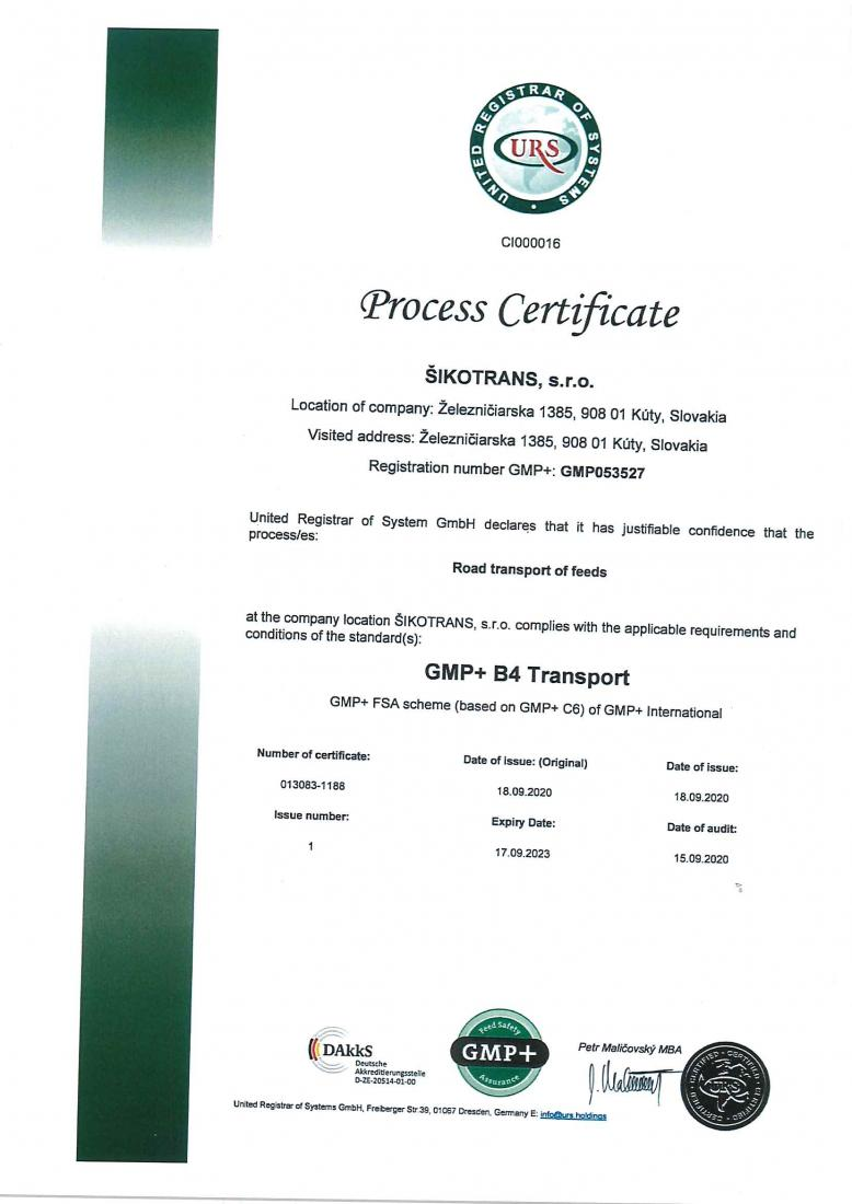 GMP+ certifikát EN verzia