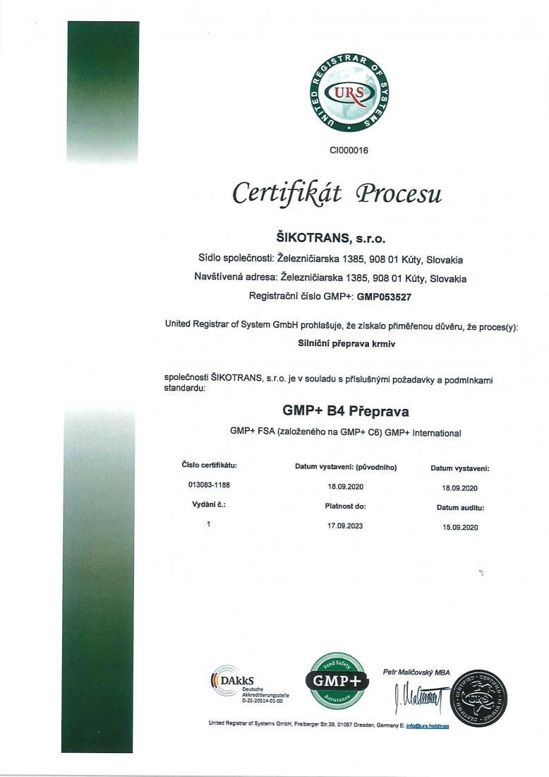 GMP+ certifikát CZ verzia